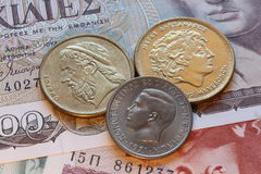 Drachma coins of greece Stock Photo