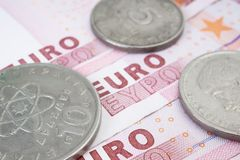 Drachma and Euro Stock Photo