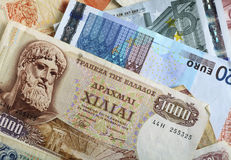 Drachma and euro notes horizontal Stock Photography
