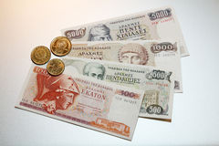Drachma - greek drachmes banknotes and coins Royalty Free Stock Photos