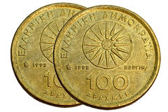 Drachmas coin 100 Stock Images