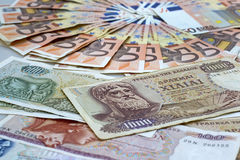 Drachmas and Euros Stock Photo
