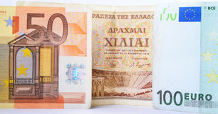 Drachmas and Euros Stock Photography
