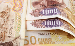 Drachmas and Euros Royalty Free Stock Images