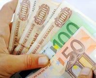Drachmas and Euros Stock Image