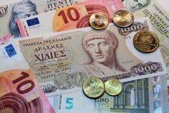 Drachme, bankbiljetten en muntstukken Stock Afbeelding