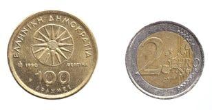 Drachme-Euro Stockfoto