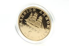 1 Drachme gouden muntstuk Royalty-vrije Stock Foto