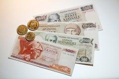 Drachme - Griekse drachmesbankbiljetten en muntstukken Royalty-vrije Stock Foto's
