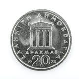 20) Drachmemuntstuk Grieks van 1978 Twintig ( Royalty-vrije Stock Foto