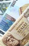 Dracma e euro- notas Imagem de Stock Royalty Free