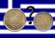 Dracma-pregunta-euro Imagen de archivo
