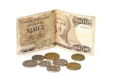 Dracma y monedas griegos Imagen de archivo libre de regalías