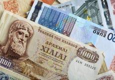 Dracma y notas euro horizontales Fotografía de archivo