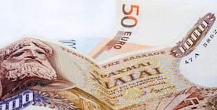 Dracmas e euro Imagem de Stock