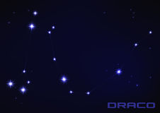 Draco star constellation. Vector illustration of Draco constellation in blue Royalty Free Stock Photo