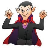 Dracula auf lokalisierter weißer Karikatur Lizenzfreie Stockfotos
