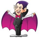 Dracula auf lokalisierter weißer Karikatur Stockfoto
