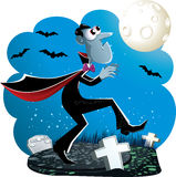 Dracula Cartoon. Vector illustration of Dracula creeping in the cemetery at night. EPS8 vector file included Royalty Free Stock Photos