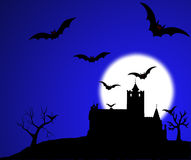 Dracula castle bats illustration Stock Photography