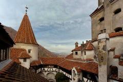 Dracula castle Bran. The inner courtyard of the castle Bran - Romania, Transilvania Royalty Free Stock Photo