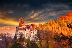 Dracula castle of Bran, Romania. Bran Castle, Romania. Dracula fortress in Transylvania region, medieval landmark architecture Stock Photos