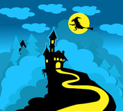 Dracula castle and witch. In Halloween Stock Illustration