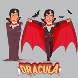 Dracula character design with typographic. Dracula in the mantle Royalty Free Stock Photography