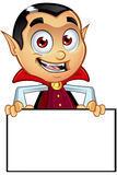 Dracula Character - Holding blank Board Stock Images