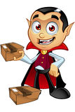 Dracula Character - Holding Parcel Royalty Free Stock Photo