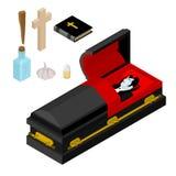 Dracula in coffin. Vampire Count in black casket. Anti vampires Royalty Free Stock Photography