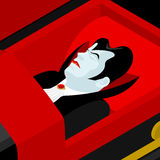 Dracula in coffin. Vampire Count in an open coffin. Ghoul in cas Stock Photo