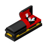 Dracula in coffin. Vampire Count in an open coffin. Ghoul in cas Stock Images