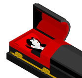 Dracula in coffin. Vampire Count in an open coffin. Ghoul in cas Royalty Free Stock Images