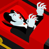 Dracula in coffin. Vampire Count in an open coffin. Stock Photography