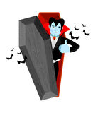 Dracula and coffin. Vampire Thumbs up shows well. Ghoul winks. S Stock Images