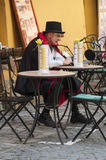 Dracula. Count Dracula on the streets of Sighisoara Stock Photography