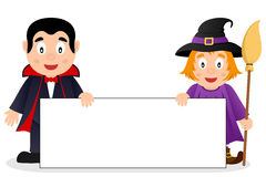 Dracula & Cute Witch with Blank Banner Stock Photos