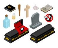 Dracula in doodskist Vampiertelling in zwarte kist Stock Afbeeldingen