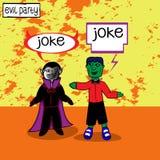 Dracula e Frankenstein estão encontrando-se ilustração royalty free