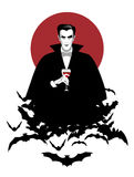 Dracula. Elegant vampire on a cloud of bats holding a wineglass Stock Photos
