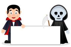 Dracula et faucheuse avec la bannière vide Photos stock