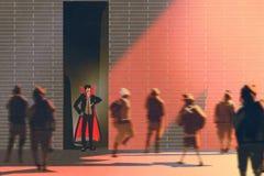 Dracula hiding in narrow alley from burning sun Stock Photos