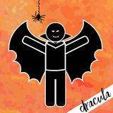 Dracula icon with spider Royalty Free Stock Images