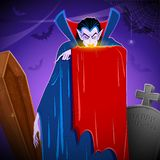 Dracula. Illustration of Dracula in graceyard in Halloween night Royalty Free Stock Photo