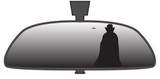 Dracula im Rückspiegel Stockbild