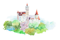 Dracula medieval Castle Bran famous landmarks travel and tourism waercolor illustration Royalty Free Stock Images