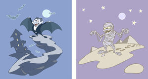 Dracula and Mummy. Two vector illustrations of halloween characters - Dracula and egyptian mummy Royalty Free Stock Photo