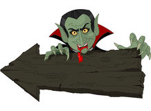 Dracula over Halloween arrow Stock Images