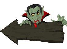 Dracula over Halloween arrow Stock Images